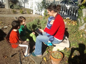Shannon teaching the kids poetry while I rest from raking the leaves