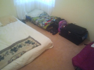 Four beds in one room.  One suitcase.  Can we possibly minimize more than this?