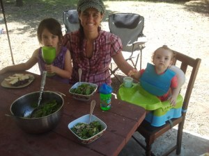 Enjoying salad al fresco on the back patio.  Nothing like sunshine and a picnic table.