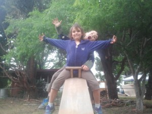 Their favorite seesaw, made by our new father-in-law.   They had a lot of fun on this.