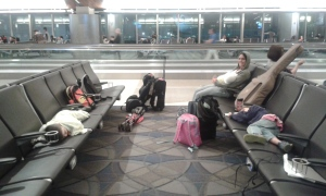 The kids thought they would be awake til our plane left at 1:25am.  Wrong!