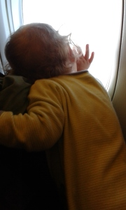 Little B's first plane ride.  He was totally enamored with the scenery on the way down.