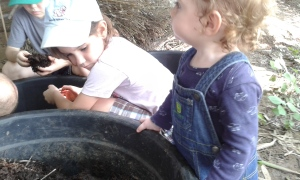 The cutest worm harvesters ever.  It was bring your family to work day!