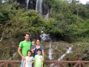 In front of the larger waterfall, Namtok Tah Rah Rak.